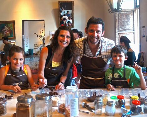 Learning how to make chocolate at Choco Museo in Antigua, Guatemala.