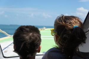 Jacob and I got to sit at the front of the boat on the way to Caye Caulker.