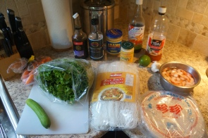 Ingredients for making Vietnamese Salad Rolls