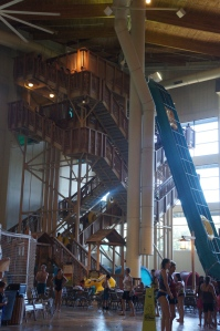The stairs that lead up to the Howlinng Tornado waterslide.