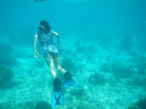 I'm snorkelling at the smaller reef.