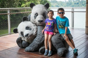 Keira and her brother Conner in Singapore.  They learned all about Panda bears.