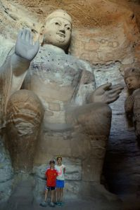 One of the largest stone carved Buddhas in the grottoes.
