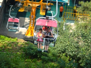This is the cable car lift that you take up to the Great Wall of China. It was super high.