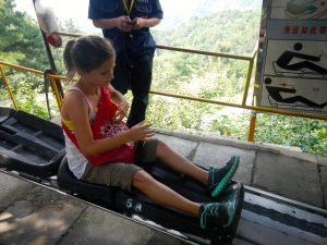 This is the chute that you need to take to get down from the Great Wall of China.