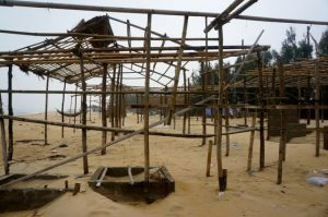These were beachside restaurants just 10 days ago before the monsoon stripped them to the bone.