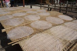 This rice paper is laid out to dry in the sun. When it's ready it's either left in disks or cut into noodles.