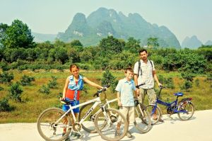 Yangshuo had some beautiful karst mountains.  Here we are with our rickety bikes.