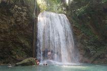 Climbing under the waterfall