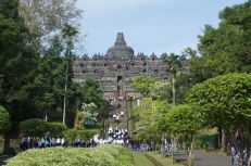 The walk up to Borobudur