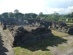 Many of the surrounding temples are in ruins after a major earthquake