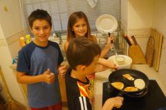 Making breakfast for the families