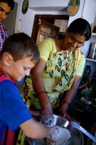kneading chapati dough