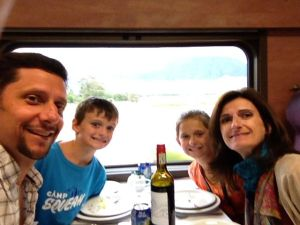 In the dining car for dinner