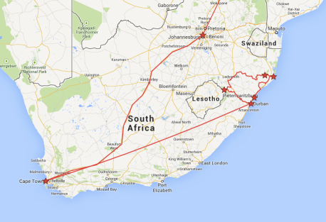 Our South African itinerary