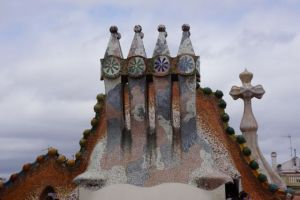 On the roof of Gaudi's creation.